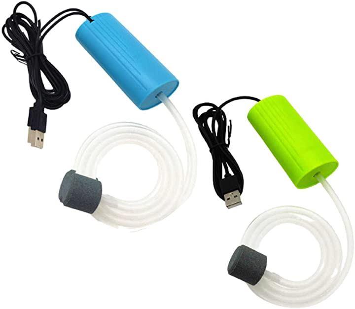 USB 給電式 エアーポンプ 2個セット 釣り 生かし 釣り酸素ポンプ エビ活かし 生き餌 バッカン バケツ(青、緑)
