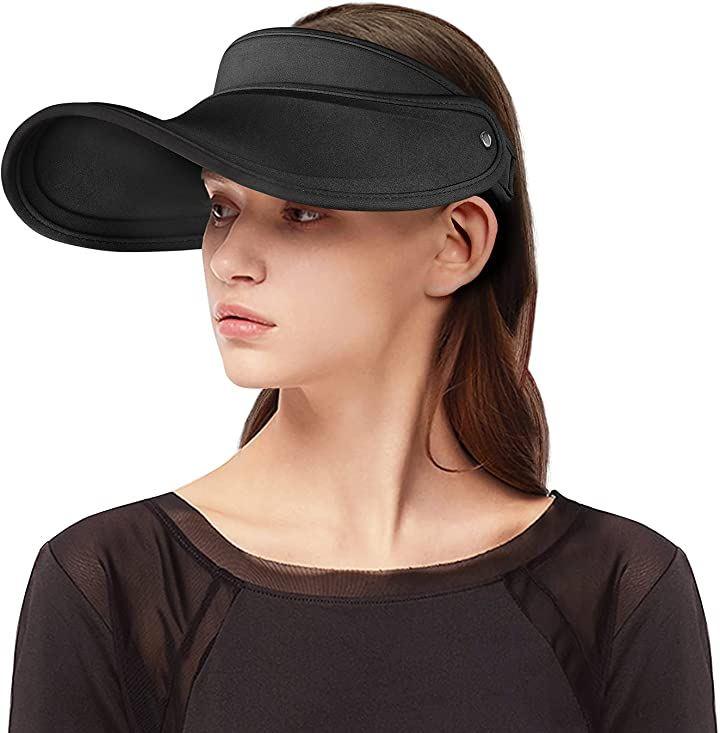 帽子 レディース UVカット帽子 ビーチハット つば広 ビーチ日除け 黒(ブラック, Free Size)