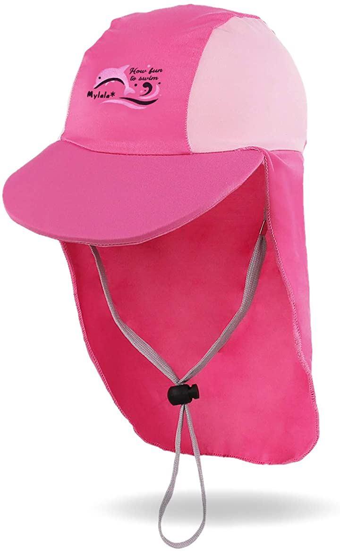 日よけ付き帽子 こども キッズ UV 供 用 水泳 キャップ 子供 ベビー 水着 UV帽子 たれ付 8-14歳 L,(ピンク, L)