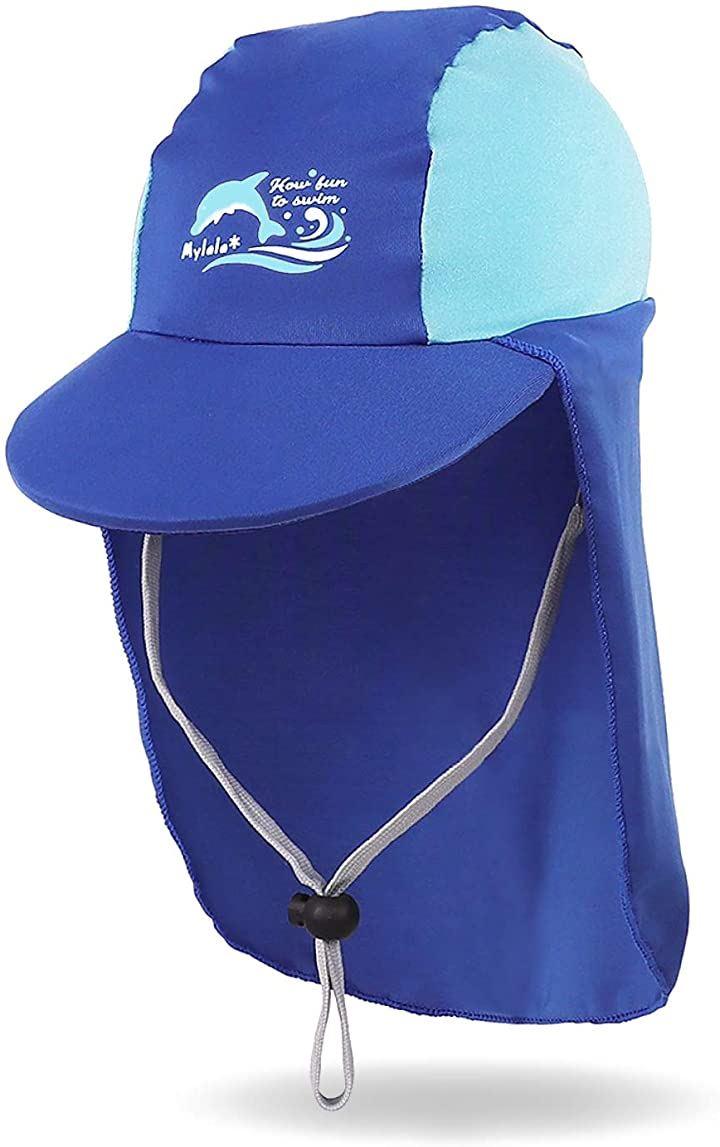 日よけ付き帽子 こども キッズ UV フラップキャップ スイムキャップ 水泳帽 日焼け防止 2-8歳 M,(ブルー, M)