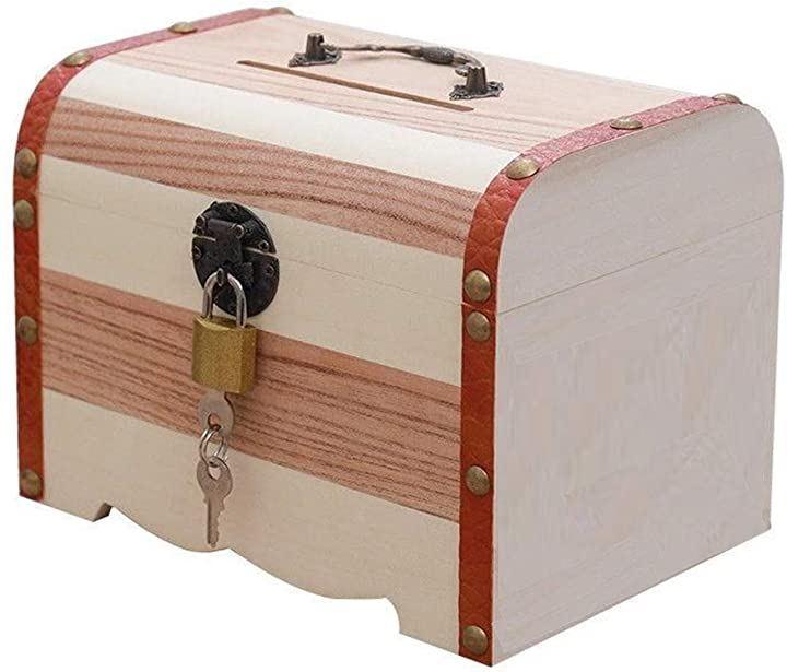 貯金箱 鍵付き 宝箱 小物入れ お札 おもしろ アンティーク 木箱レトロ インテリア おしゃれ