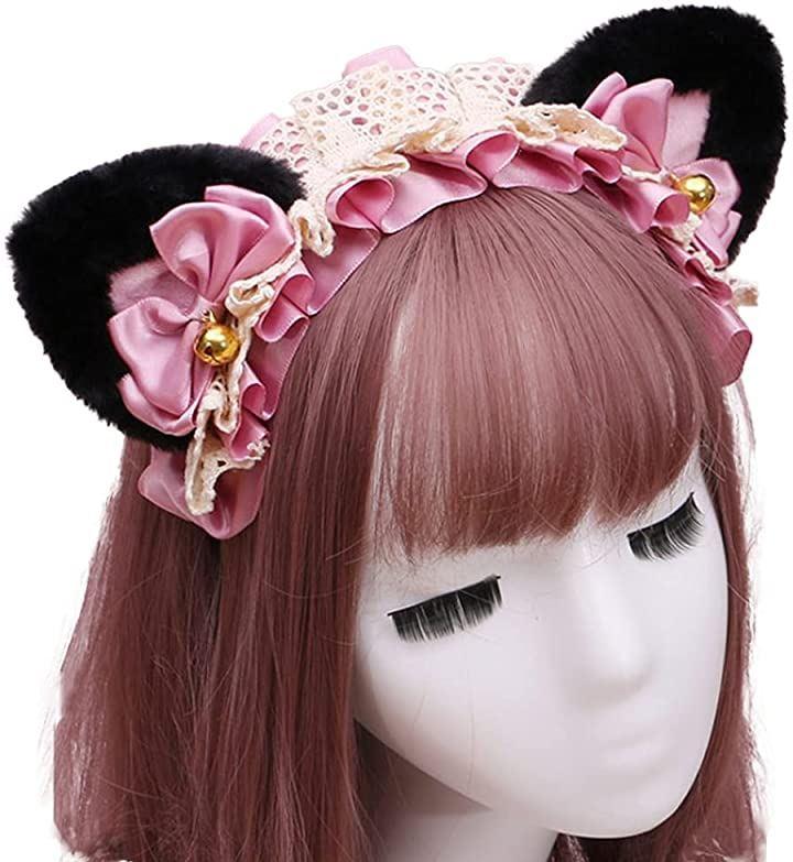 ヘッドドレス ねこ耳 カチューシャ メイド リボン コスプレ 髪飾り(黒耳・ピンク)