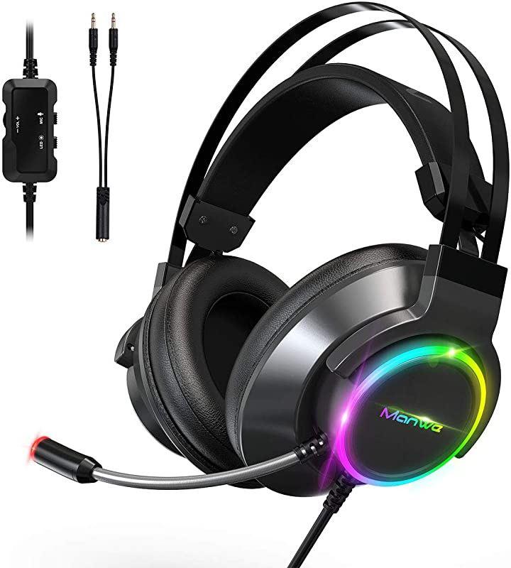 ヘッドホン ps4 ヘッドセット ゲーミングヘッドセット PC マイク付き LEDマイク付き 有線 超軽量 通気 高音質 ノイズキャンセリング 伸縮可能 3.5mm(黒, Medium)
